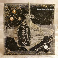 Card by Lynne Moncrieff using Darkroom Door Brushed Christmas Vol 2 and Stitched Christmas Rubber Stamps http://www.darkroomdoor.com/rubber-stamp-sets/rubber-stamp-set-stitched-christmas