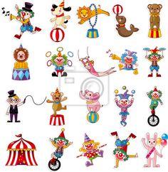 Sticker cartoon happy circus show icons collection - lion • PIXERSIZE.com