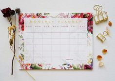 Perfect sized floral monthly notepad to keep on your desk! These desk pads are made of tear-off sheet are easy to use and can help you to keep track of your tasks for the week. ▼11 x 8.5 Size ▼1.5 x .75 Grids ▼70 lb. Paper, 25 tear-off sheets ▼Print from original hand illustrated artwork ▼Listing includes: 1 Notepad I am unable to customize notepad designs or switch the patterns between notepads. View shop policies for more information or feel free to send me a message. Thank you for…