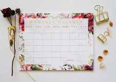 Floral Monthly Calendar Desk Pad Desk Calendar Agenda by ginably