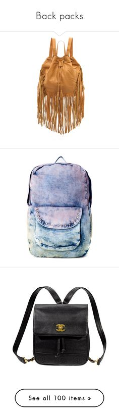 """Back packs"" by awesomepandadude ❤ liked on Polyvore featuring bags, backpacks, studded leather backpack, draw string backpack, drawstring backpack bag, camel backpack, brown leather rucksack, accessories, purses and blue"