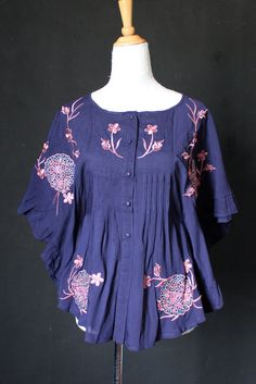 Cotton Blouse Blue Women Top Shirt T-shirt Tunic Cotton Embroidered Tunic Butterfly Sleeves
