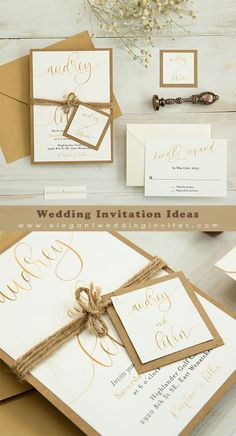 Simply rustic wedding invitation with gold script wordings and earthly kraft backing card EWIM011