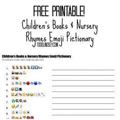 FREE Printable! Children's Books & Nursery Rhymes Emoji Pictionary!