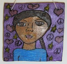 Portraits on clay tile with colored pencil. (Adapt?)