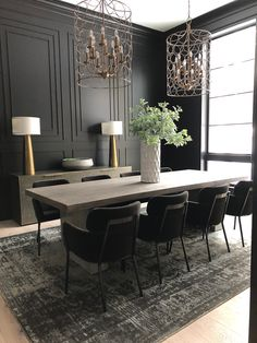 What Is Transitional Style and How to Get It? - Interior Fun - Transitional style is a fun mix of modern and traditional. Use both traditional and modern light f - Interior Paint Colors, Interior Design, Interior Office, Interior Styling, Future House, Black Walls, Black Painted Walls, Cuisines Design, Dining Room Design