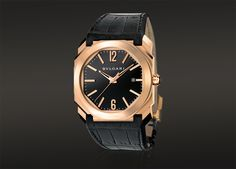 OCTO automatic watch with a 18kt pink gold case with alligator straps. Stunning