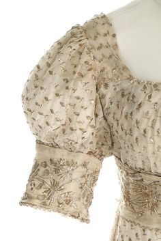 A silver-strip embroidered muslin dress, circa 1805-10 Kerry Taylor Auctions