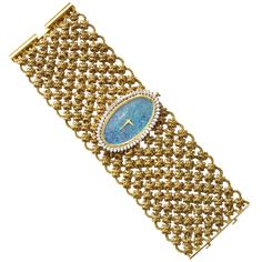 Beuche-Girod Lady's Yellow Gold and Diamond Mesh Bracelet Watch   From a unique collection of vintage wrist watches at https://www.1stdibs.com/jewelry/watches/wrist-watches/