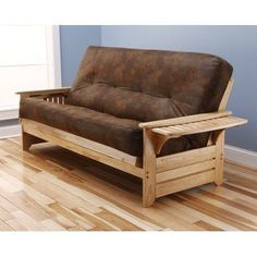 The Monterey Is Our Most Affordable Solid Hardwood Futon Frame Runs 289 00 Pictured Here With A 8 Innerspring Mattress