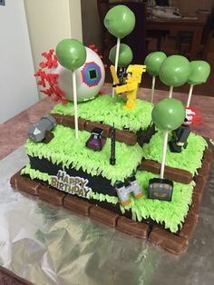 Terraria (video game) themed cake featuring the Dinosaur
