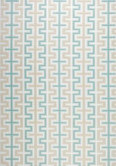Zipper Outdoor Fabric An eye-catching woven fabric with a geometric design shown in shades of aqua, beige and off-white.