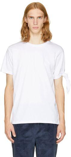 T-shirt à manches courtes en jersey de coton blanc. Col ras du cou 2ed11cfd781