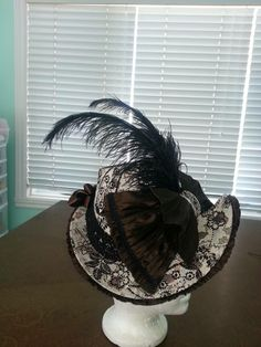 Melanie's dramatic 1880s Bustle Era bonnet she put together in the in online class at HistoricalSewing.com