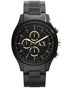 A|X Armani Exchange Men's Chronograph Black Ion-Plated Stainless Steel Bracelet Watch 45mm  for $240.00