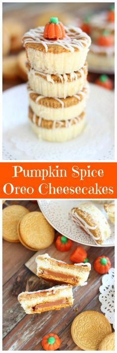 My traditional double layer pumpkin cheesecake tops a Pumpkin Spice Oreo as its crust. These mini Oreo Cheesecakes are super simple and perfect for holiday parties!