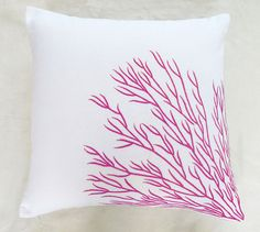 White coral trellis throw pillow 18 inch with pink by anitanirma