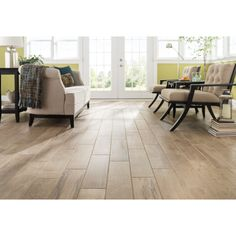 Style Selections Woods Natural Wood Look Porcelain Floor and Wall Tile (Common: 6-in x 24-in; Actual: 5.91-in x 23.62-in)