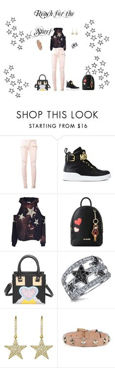 """""""Star Look for School"""" by rebeccadavisblogger on Polyvore featuring Balmain, Moschino, Love Moschino, Bling Jewelry, Jennifer Meyer Jewelry and RED Valentino"""