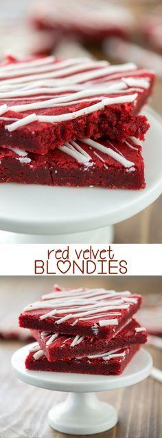 Red Velvet Blondies - turn the best blondie recipe into red velvet!