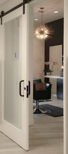 Modern barn doors, bronze hardware, hair salon                                                                                                                                                                                 More