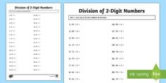 Division of 2 Digit Numbers Activity Sheet  - maths, mathematics, numeracy, division, sharing, partitioning, number, place value, activity sheet,
