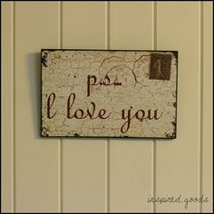 P.S. I Love You Wooden Wall Sign