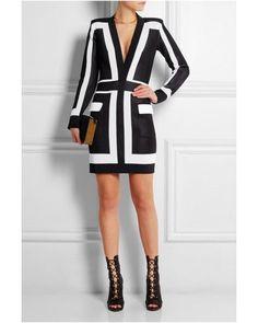 Balmain Two Tone Long Sleeved Color Blocked Dress
