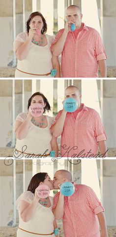 Pregnancy Announcement Photo Ideas. I like this one, especially for a gender reveal party.