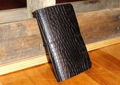 Simple 35x55 Leather Notebook Cover  Black Croc by DavisLeather, $15.00