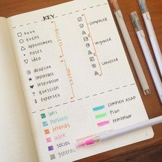 Bullet Journal Inspiration: Organize and Express Yourself Bullet journaling can artfully and effectively help you organize your life. Check out this collection of bullet journal inspiration to get your start. Bullet Journal Inspo, Bullet Journal Key Examples, Bullet Journal Simple, Planner Bullet Journal, Bullet Journal Junkies, Bullet Journal Layout, Bullet Journal Legend Ideas, Bullet Journal Cheat Sheet, Bullet Journal Key Page