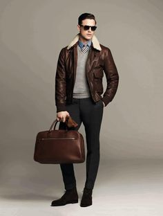Layer: Leather Jacket, Sweater, Hackett - Fall 2012