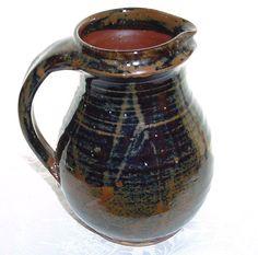 SHOJI HAMADA 196Os MASHIKO Japanese ART Pottery PITCHER Exquisite TENMOKU Glaze