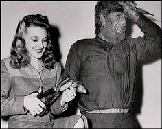 "Evelyn Ankers and Lon Chaney Jr. during the filming of ""The Wolf Man"""