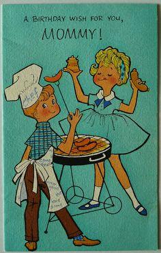 ┌iiiii┐                                                        Vintage Birthday card.