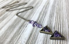 Long Pendant Necklace, Tribal Necklace, Stone Necklace, Tassel Necklace, Arrow Necklace, Diy Necklace Making, Amethyst Stone, Brass Chain, Gifts For Wife