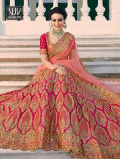 All Ethnic Customization with Hand Embroidery & beautiful Zardosi Art by Expert & Experienced Artist That reflect in Blouse , Lehenga & Sarees Designer creativity that will sunshine You & your Party Worldwide Delivery. Indian Wedding Lehenga, Bridal Lehenga Choli, Lehenga Saree, Indian Wedding Outfits, Indian Bridal, Indian Outfits, Star Fashion, Indian Fashion, Bandhani Dress