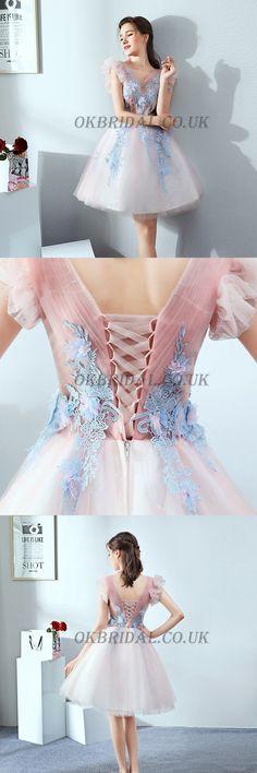 Tulle Homecoming Dress, V-Neck Homecoming Dress #okbridal