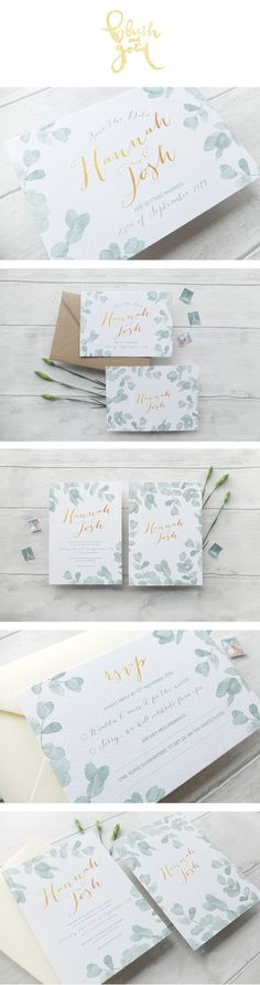 Eucalyptus watercolour wedding invitation suite. Elegant and modern!