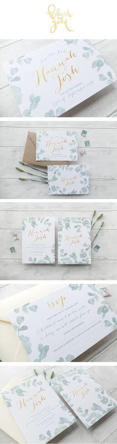 Eucalyptus watercolour wedding invitation suite. Elegant and modern!