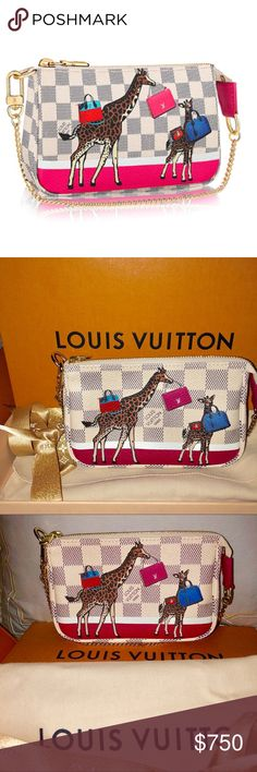 Authentic Louis Vuitton limited edition pouchette Authentic NWT Louis Vuitton limites edition 2017, collectors Item. mini pouchette in Azur print  Whether it is clipped to another bag or carried independently, the Mini Pochette Accessoires is a playful addition to any wardrobe. These cute giraffes with Louis Vuitton fancy bags will make of this pouch the most adorable accessory of the season. Receipt, box, sleeper, ribbon, shopping bag included  Details 5.3 x 3.7 inches Damier Azur coated…