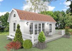 Attefallshus Kristina 25 kvm bygglovsfritt - fasad 1 Outdoor Garden Sheds, Backyard Sheds, Shed Decor, Backyard Plan, Cottage Plan, Modern Farmhouse Plans, Dream House Exterior, Small House Design, House Roof