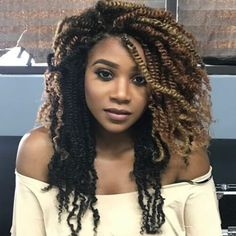 Kinky twist hairstyles are simple and convenient. Check out our great ideas and try afro kinky braids, long kinky twist braids, kinky twist updos, and more. Kinky Twist Styles, Afro Kinky Twists, Box Braids Hairstyles, Girl Hairstyles, Black Hairstyles, Crochet Twist Hairstyles, Marley Twist Hairstyles, Bridesmaid Hairstyles, Ghana Braids