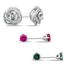 So versatile, this stud earring and jacket set is a fashion find she'll love to have on hand. Crafted in sterling silver, this set includes three pairs of 4.0mm stud earrings, each set with shimmering lab-created white sapphires, lab-created bright pink sapphires or alluring Mystic Fire® topaz. Wear the studs alone or pair them with the sparkling lab-created white sapphire swirl knot jackets. Polished to a bright shine, these post earrings secure with friction backs. The set arrives beaut...