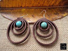 Boucles d'oreilles en cuir avec pierre turquoise par andresespejo