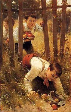Karl Witkowski (American painter, 1860-1910) Stealing Apples 1890