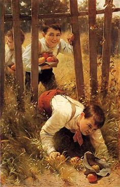 Karl Witkowski (American painter, 1860-1910) 'Stealing Apples' (1890) - love the look of triumph captured on the boys' faces.