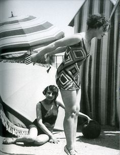 Model wearing swimsuit designed by Sonia Delaunay, 1929 France