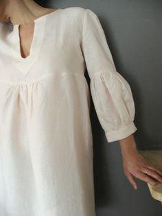 Etsy Transaction - Dress or Tunic - My Garden -powder pink linen color Sewing Clothes, Diy Clothes, Large Mens Shirts, Kurta Designs, Diy Fashion, Womens Fashion, Powder Pink, Sleeve Designs, Linen Dresses