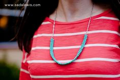 DIY Easy Turquoise Bead Necklace Tutorial-5